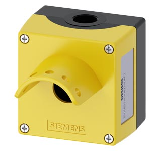Enclosure for command devices, 22 mm, round, enclosure material metal, enclosure top part yellow, with protective collar for 5 padlocks, emergency sto