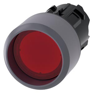 Illuminated pushbutton, 22 mm, round, plastic with metal front ring, red, Front ring, raised momentary contact type