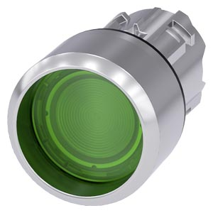 Illuminated pushbutton, 22 mm, round, metal, shiny, green, Front ring, raised, momentary contact type