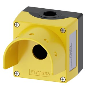 Enclosure for command devices, 22 mm, round, Enclosure material metal, Enclosure top part yellow, with protective collar for 5 padlocks, and mushroom