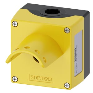 Enclosure for command devices, 22 mm, round, enclosure material metal, enclosure top part yellow, with protective collar for 5 padlocks emergency stop