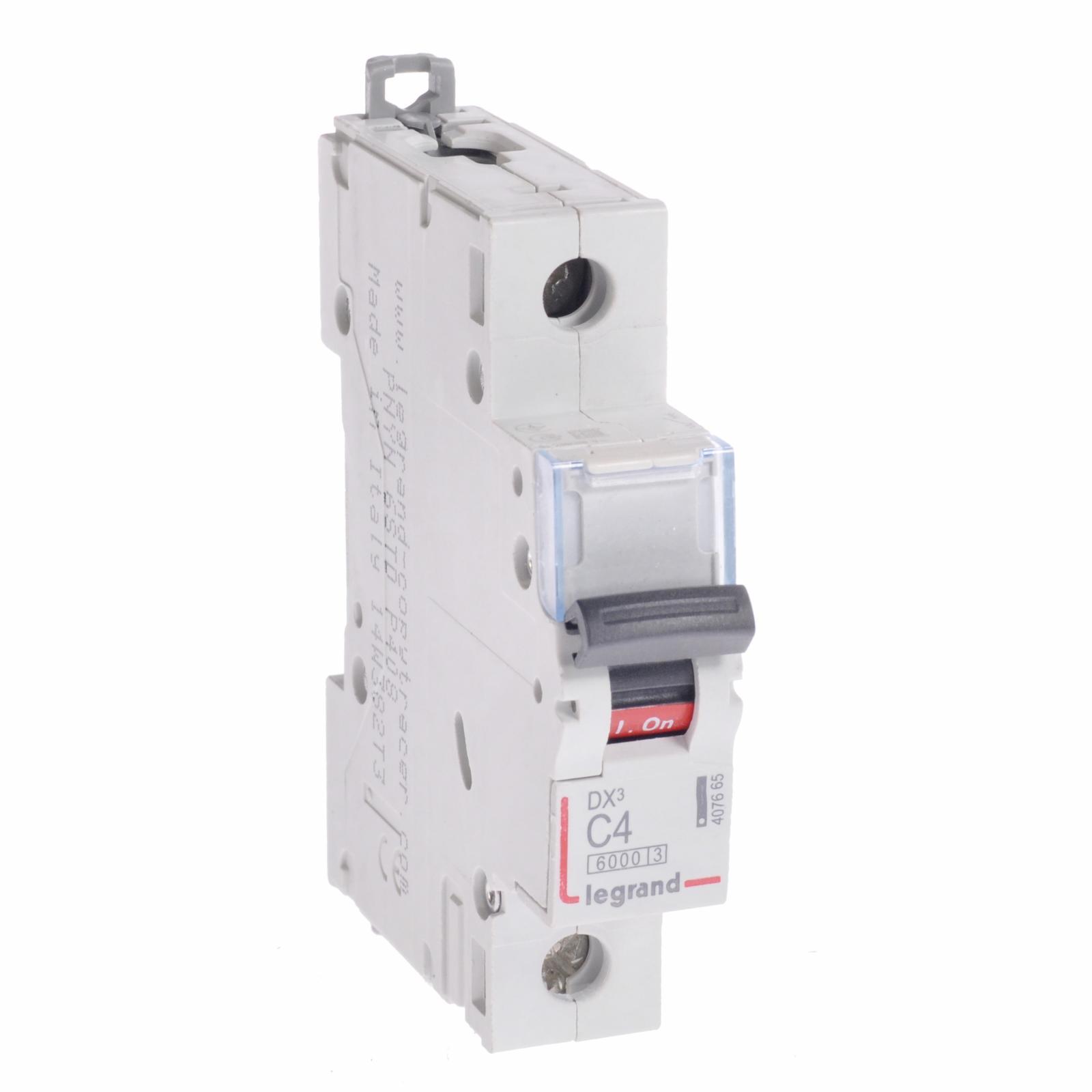 Автоматический выключатель DX³ 6000 - 10 кА - тип характеристики C - 1П - 230/400 В~ - 4 А