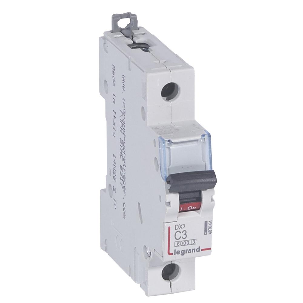 Автоматический выключатель DX³ 6000 - 10 кА - тип характеристики C - 1П - 230/400 В~ - 3 А